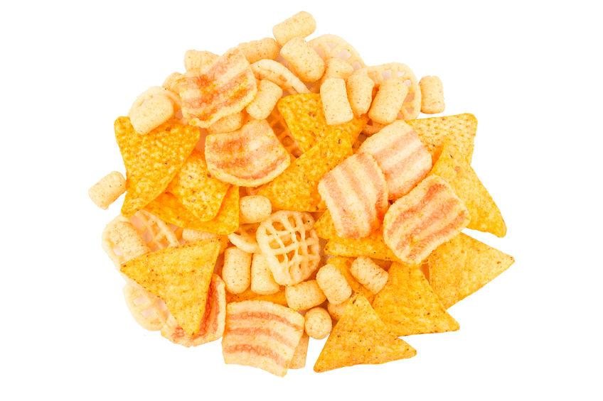 77994490 - top view round pile of different junk food types with different colors shapes and textures isolated on white background